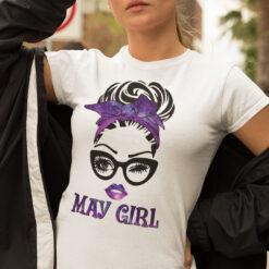 May Birthday Girl T Shirt Black Glasses Purple Headband