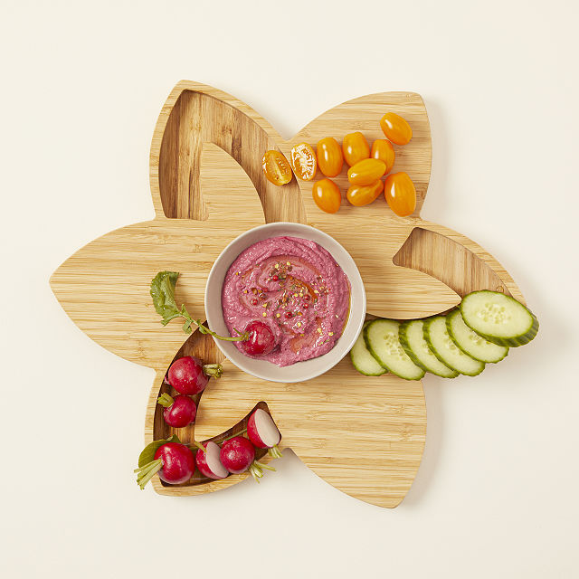 Bamboo Lotus Serving Board- best hostess gifts for Thanksgiving