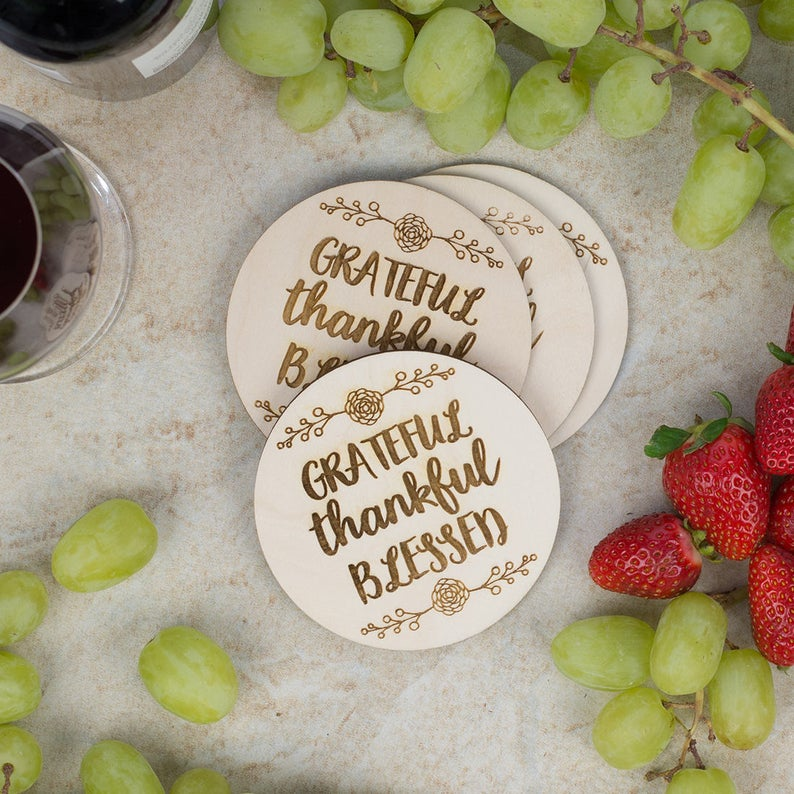 Engraved Coaster Set- best hostess gifts for Thanksgiving.