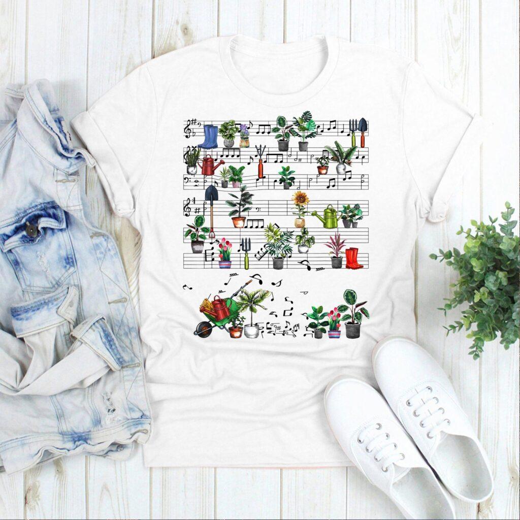 Garden Shirt Music Notes Plants