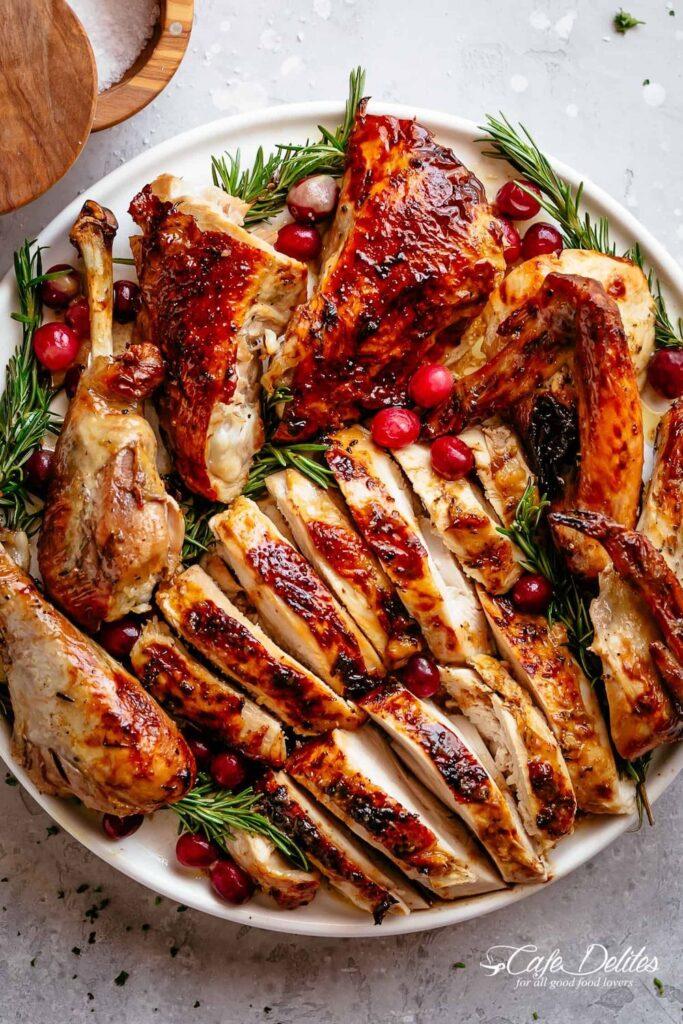 Garlic herb butter roast turkey recipe- best roast turkey recipe for Thanksgiving