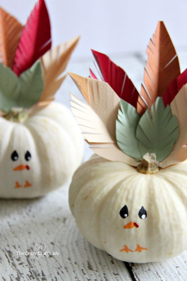 Mini Turkey Pumpkins- great Thanksgiving crafts for young children