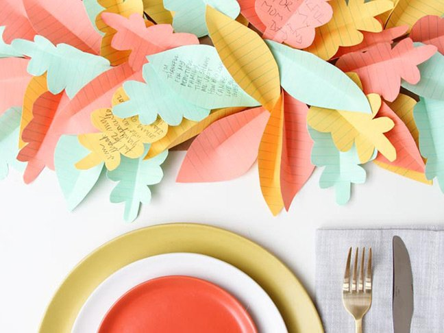 Paper Leaf Table Runner- great Thanksgiving crafts for young children
