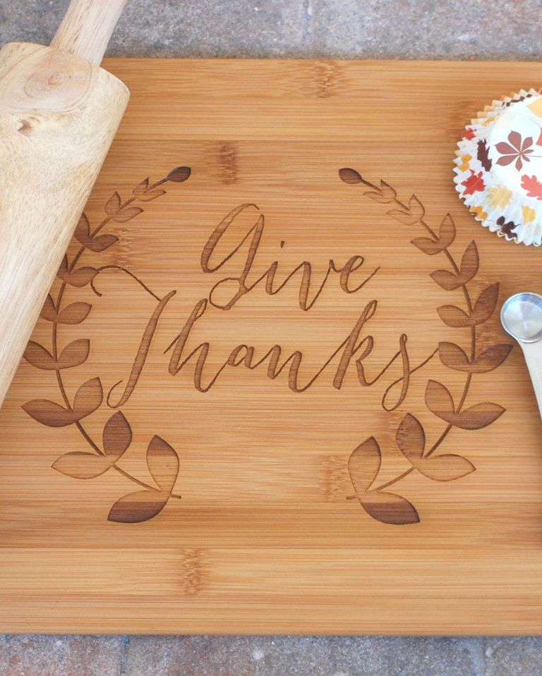 """Customized Cutting Board """"Give Thanks"""""""