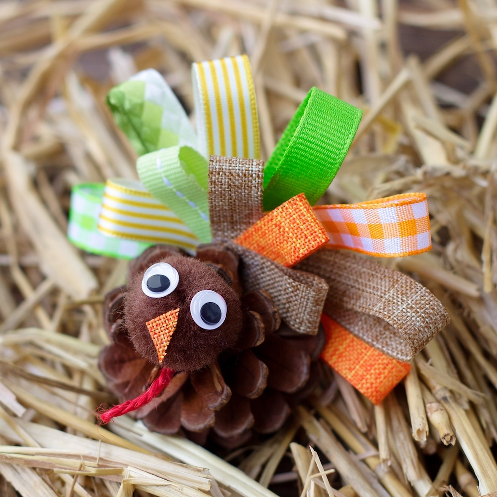 Pine Cone Turkey- fun Thanksgiving crafts for young children