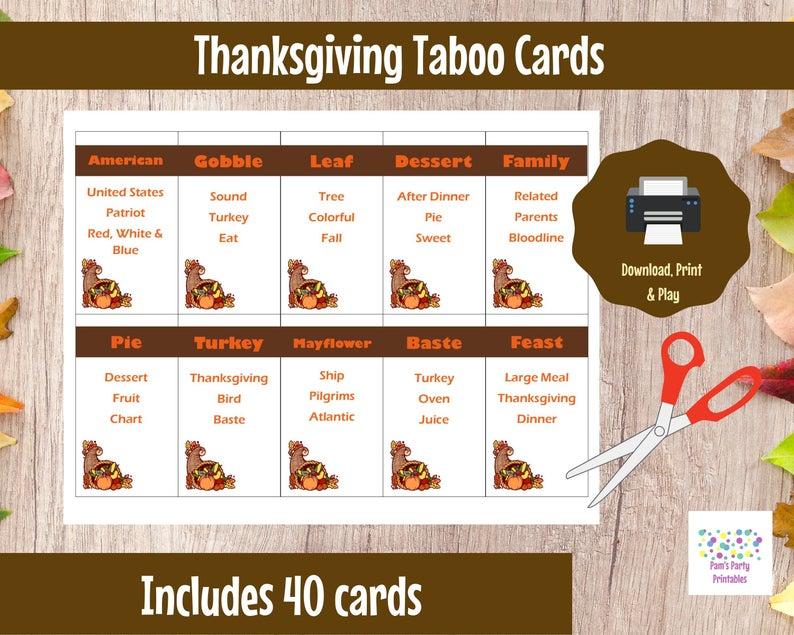 Printable Thanksgiving Game- best hostess gifts for Thanksgiving.
