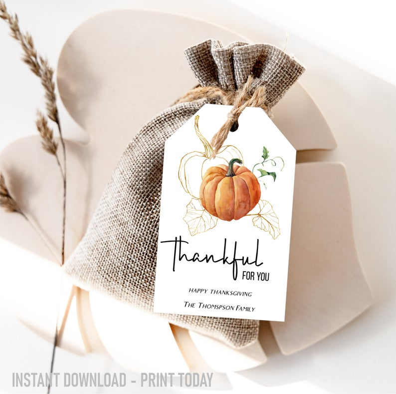 Printable Thanksgiving Tags- best hostess gifts for Thanksgiving.