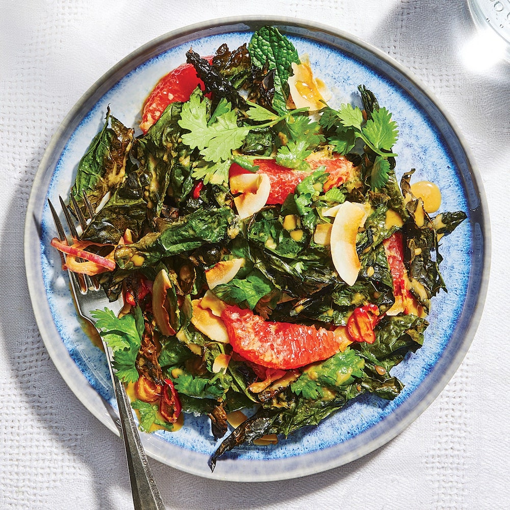 Raw and Crispy Kale Salad With Ginger and Coconut- best green salad for Thanksgiving