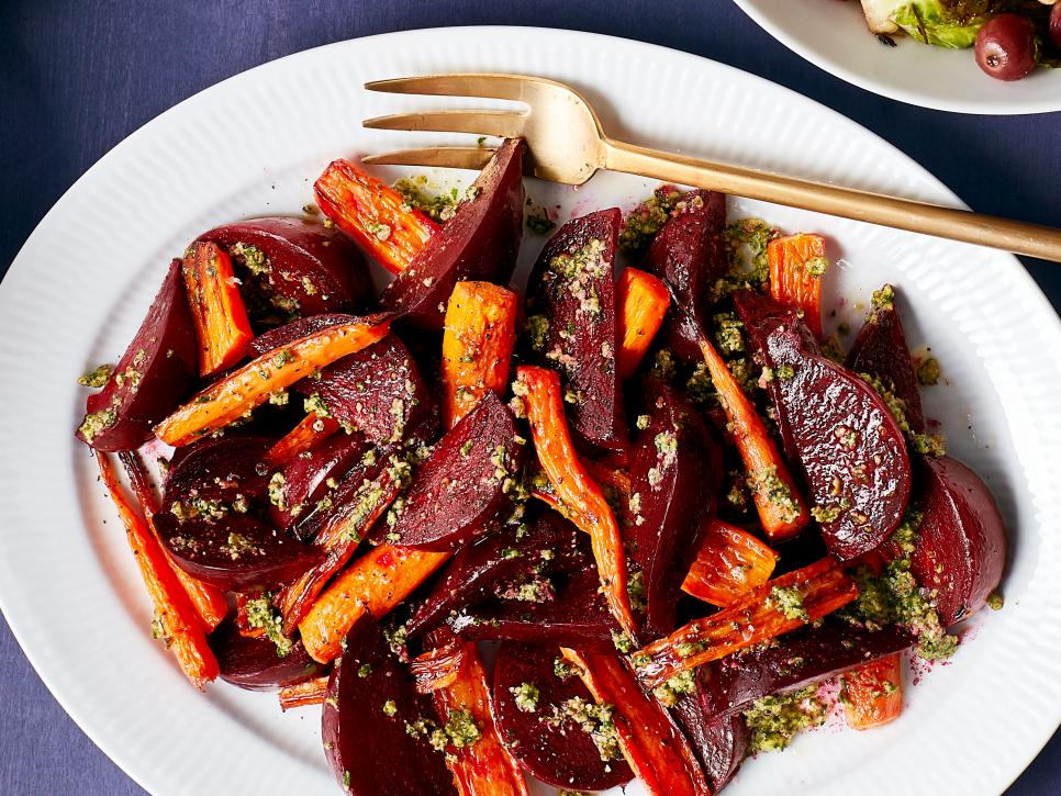 Roasted Carrots and Beets with Pecan Pesto