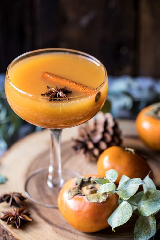 Spiced Persimmon Bourbon Old Fashioned- classic Thanksgiving drinks