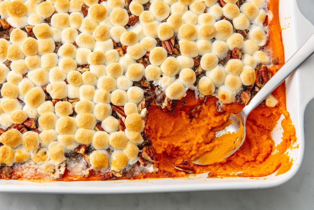 Sweet Potato Casserole With Marshmallows- cool food ideas for Thanksgiving