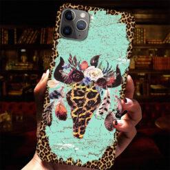 Buffalo Skull Feather Phone Case Leopard Print