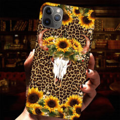 Sunflowers Bull Skull Phone Case Leopard Skin