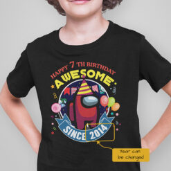 Among Us T Happy 7th Birthday Awesome Shirt Personalized