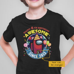 Among Us T Happy 8th Birthday Awesome Shirt Personalized