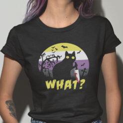 Black Cat Killer What Halloween Shirt Cat Murder Halloween Tee