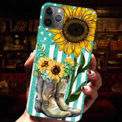 Boots Sunflowers American Flag Phone Case