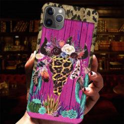 Leopard Cow Skull Cactus Phone Case Floral Bull Skull