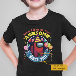 Personalized Among Us Happy 10th Birthday Awesome Shirt