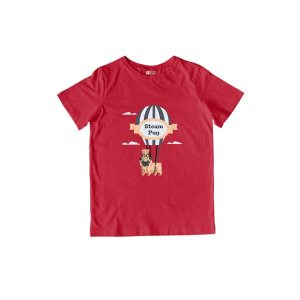 Steam Pug T-Shirt Red