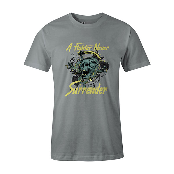 A Fighter Never Surrender T shirt silver