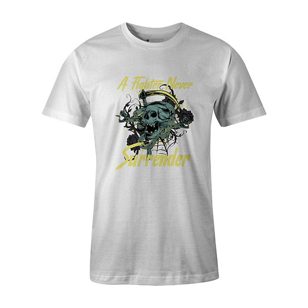 A Fighter Never Surrender T shirt white