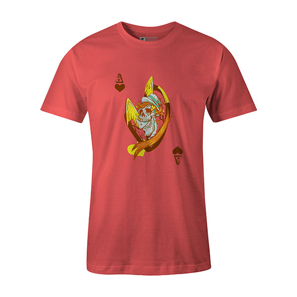 Ace of Hearts T shirt coral