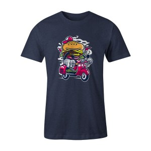 Burger Scooter T Shirt Heather Denim