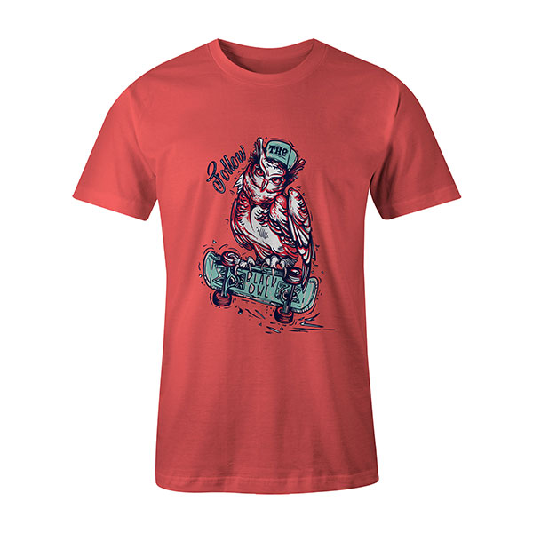 Follow The Black Owl T shirt coral
