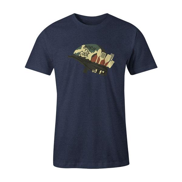 Born To Cook T Shirt Heather Denim