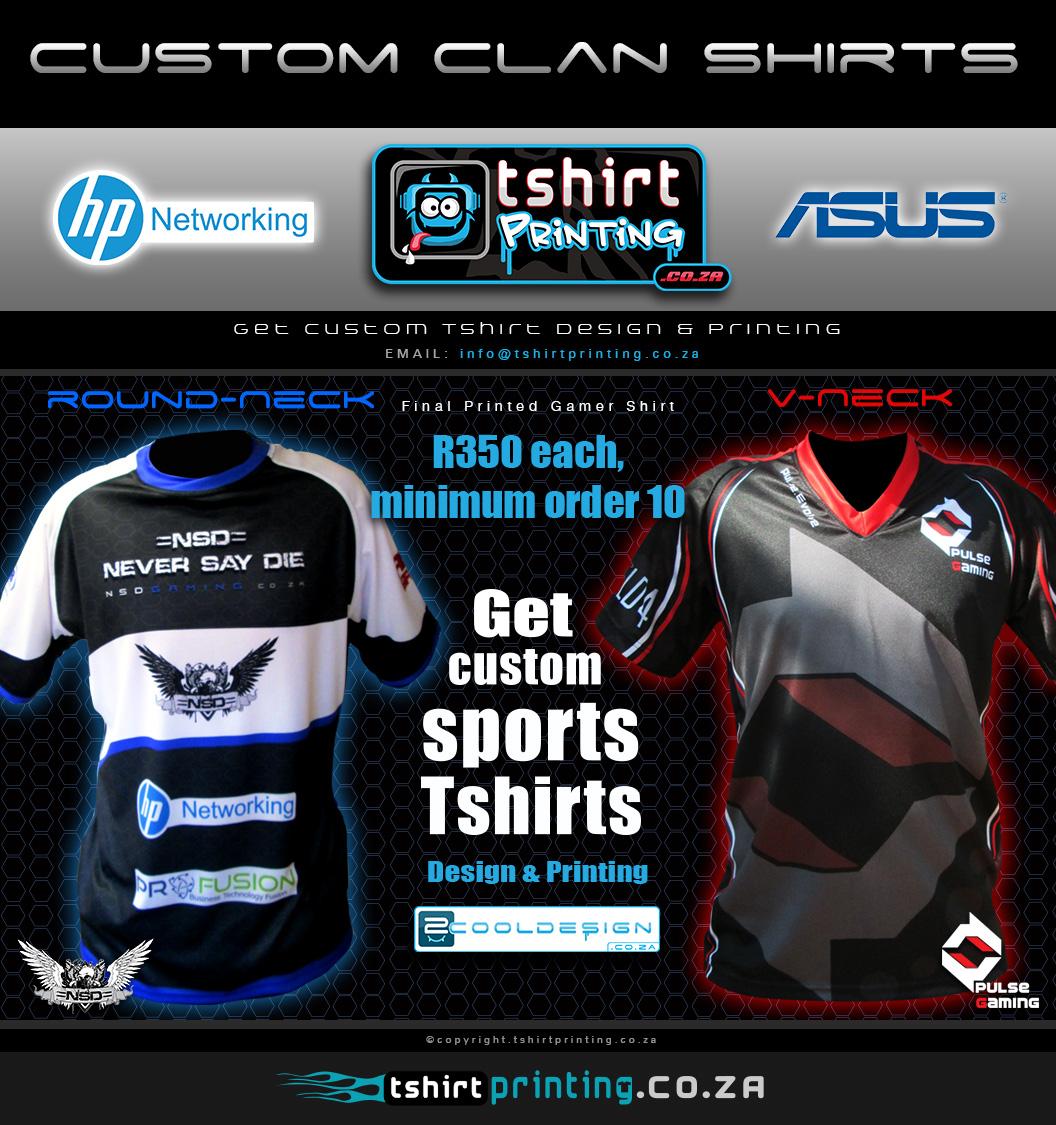 T shirt design za - Custom Clan Shirts Gamer Shirt Printing