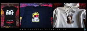 Tshirt Printed examples: Ladies custom tshirt / Promo Restaurant tshirt / Custom hoodie printed