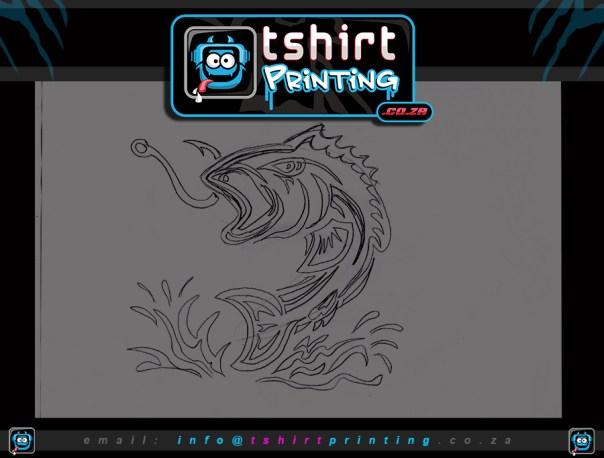 bass fish shirt design sketch