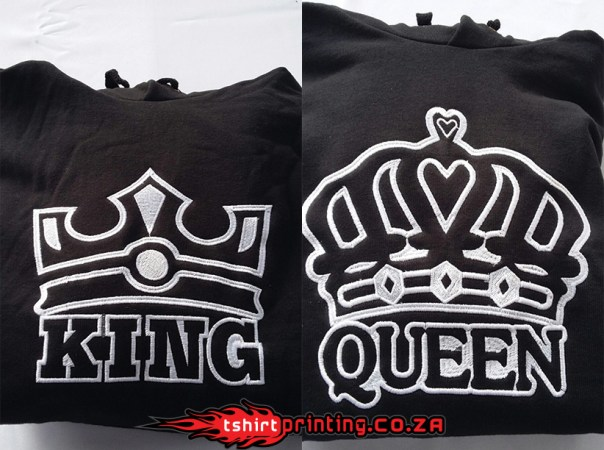 Large embroidery, King & Queen Embroidered hoodies