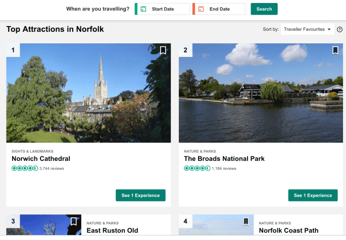 a screen shot from trip advisor. The top 4 are Norwich cathedral, The broads national park, the norfolk coast path and east runton.