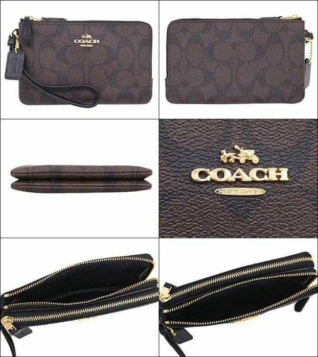 *vivi shop*美國正品COACH F87591 黑灰LOGO色雙層小號手拿包( 防刮PVC皮款) 零錢包 手機包 手拿包-(保證美國OUTLET直購 ...