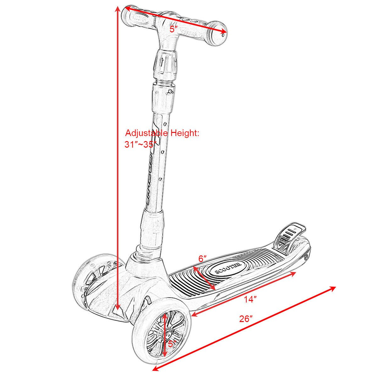 Costway Goplus Folding 3 Led Light Up Wheel Kids Kick Scooter Adjustable Height For Boys Girls