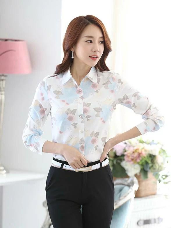 花朵雪紡繽紛色 女OL服飾襯衫wcps78 | CPshirt - Rakuten樂天市場