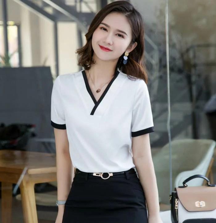 韓版V領女白衣黑邊 短袖襯衫wcps73 | CPshirt - Rakuten樂天市場
