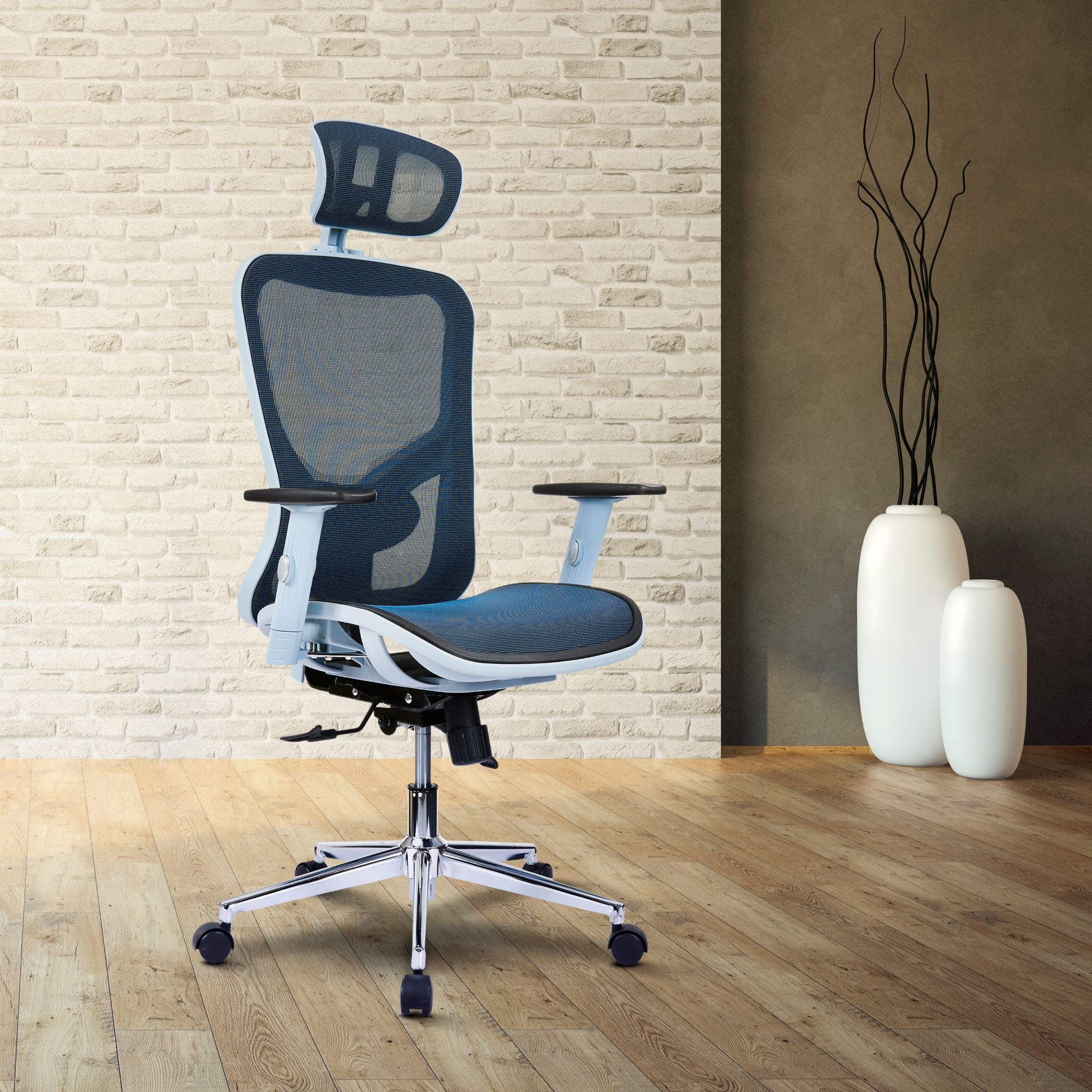 The Techni Mobili High Back Executive Mesh Office Chair With Arms Headrest And Lumbar Support Blue