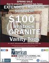 $100 In-stock Granite Vanity Tops Sale EXTENDED Through Summer! at American Cabinet & Flooring