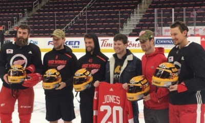 Erik Jones Visits the Detroit Redwings Morning Skate