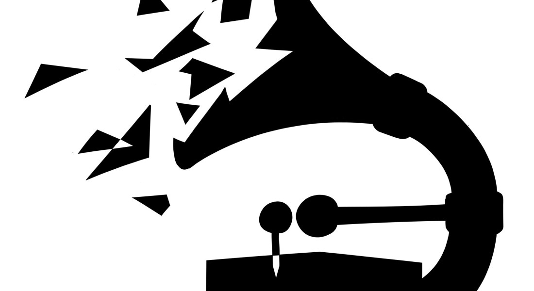 A black and white graphic of a disintegrating Grammy Award.