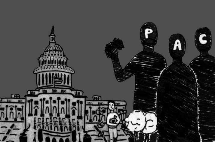 """A black and white graphic of the Capitol Building on the left, three people labelled """"P,"""" """"A"""" and """"C"""" respectively on the left and a person in the middle holding a bag of money."""