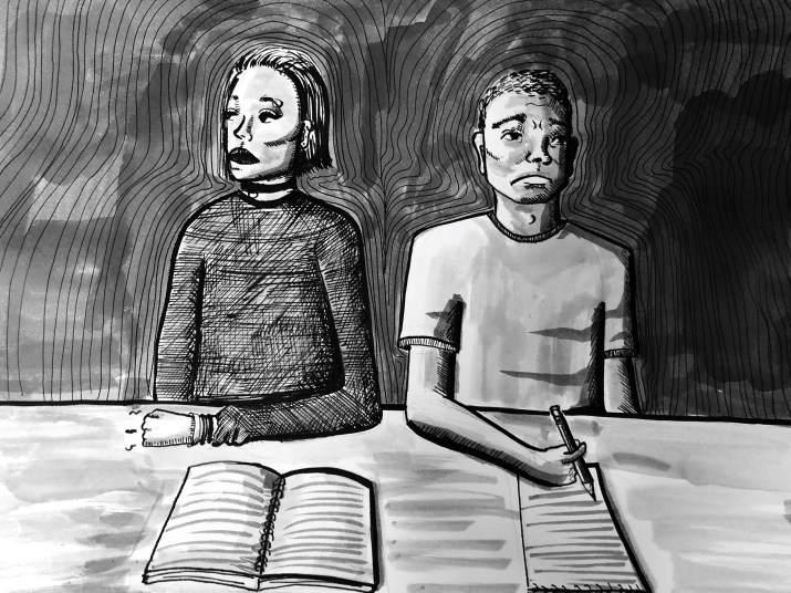 A black and white graphic of two students sitting at a desk, turned away from each other.