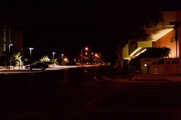 dark street with lights