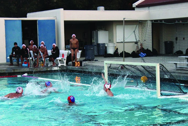 The midst of a water polo game.