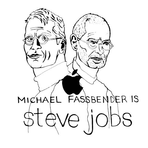 """Two cartoon men look off into the distance. Underneath them are the words """"Michael Fassbender is Steve Jobs"""""""