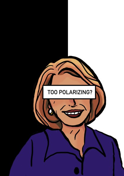 "A cartoon drawing of Nancy Pelosi with the words ""too polarizing?"" over her eyes"