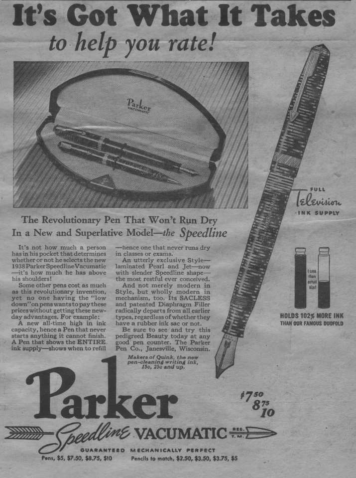 An old newspaper ad about a pen